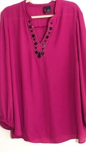 New Directions Sz 3X Fuchsia Embellished Top